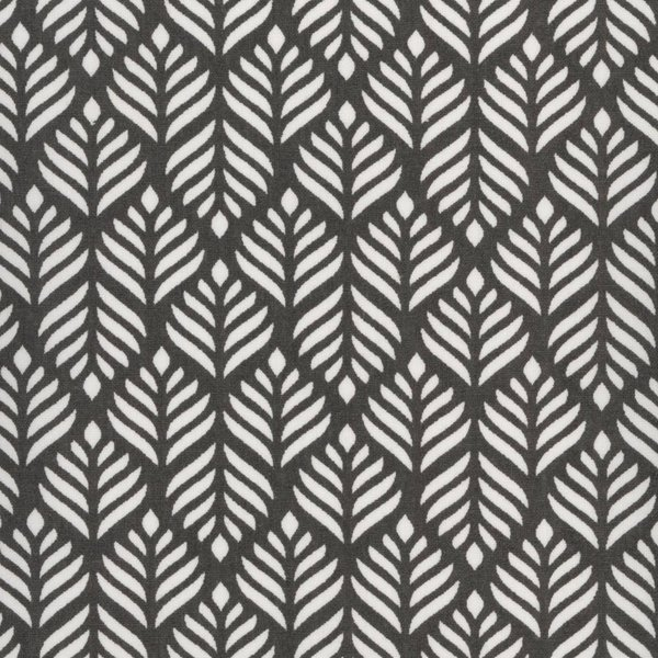Oilcloth Trigo Dusty Almost black - Blätter grau anthrazit