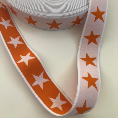 Gummiband Stern orange-weiss 40 mm